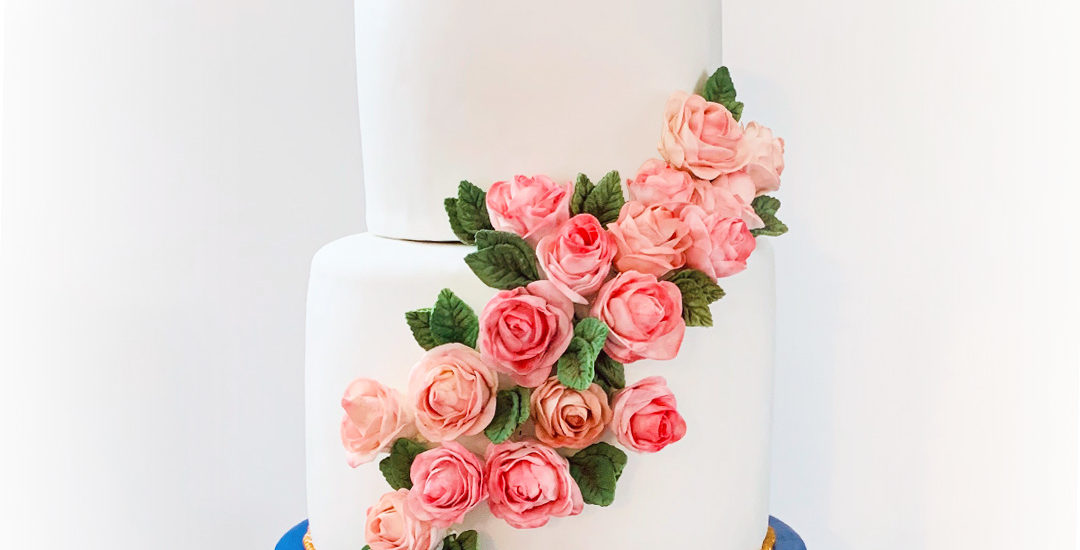 Fondant with sugar flowers roses wedding cake | Annie's Cakes baker located in Edmonton, AB
